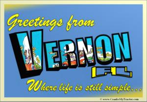 Vernon Florida Postcard (Vernon Cranks My Tractor)