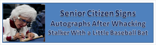 Senior citizen signs autographs after whacking stalker