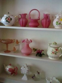 The shelves in Ms. Fannie Lou's Pink Room