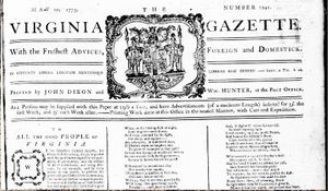 The Virginia Gazette started up in 1736.
