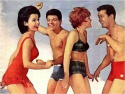 Annette Funicello rocking a one-piece bathing suit