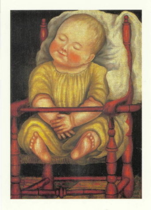 Baby in Red Chair Postcard